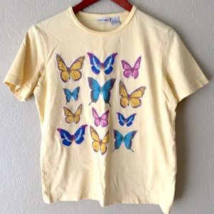 VINTAGE Butterfly Yellow Cotton Graphic T-Shirt